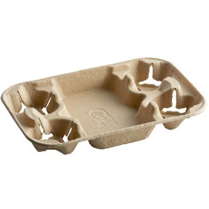 Compostable Hot Cup Tray, 4 cup carrier with tray
