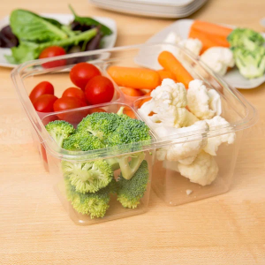 4 Compartment Clear PLA Container filled with Vegetables.