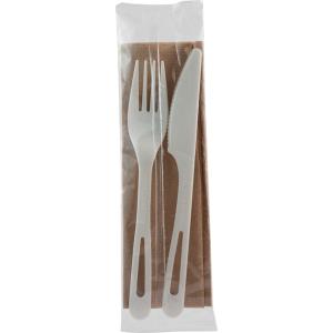 "6"" Compostable TPLA Set-Knife/Fork/Napkin/-Wrapped"