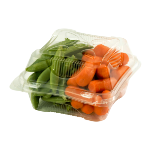 Small Hinged Clear Clamshell Filled with Vegetables.