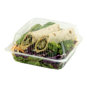 Medium Hinged Clear Clamshell Filled with Salad.