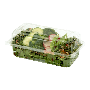 Long Hinged Clear Clamshell filled with Salad.