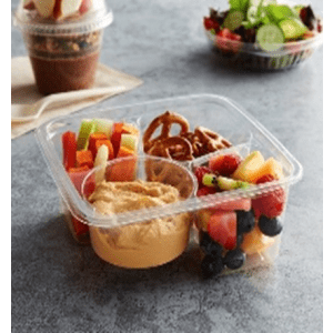 3 Compartment Clear PLA Container filled with fruits, food, and cookies.