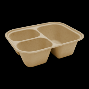 Three Compartment Fiber Food Container, 48oz.