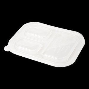 Clear PLA Lid for 48 oz Three Compartment Fiber Food Container
