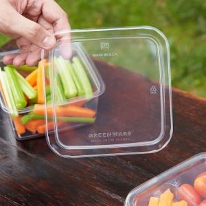 Universal Lid for Clear PLA Compartment Container