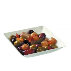 8.5 oz Small Rectangular Bowl with olives and salad