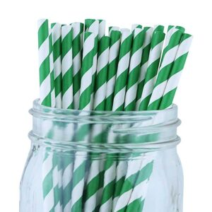 4-ply Giant jumbo paper Green stripe Straws