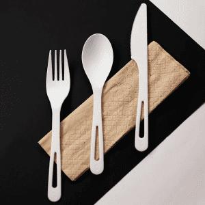 "6"" Compostable TPLA Set- Knife/Fork/Spoon/Napkin-Wrapped"