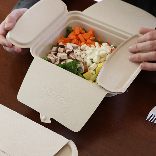 Fiber Foodservice Ware, Disposable Food Containers containing salad.