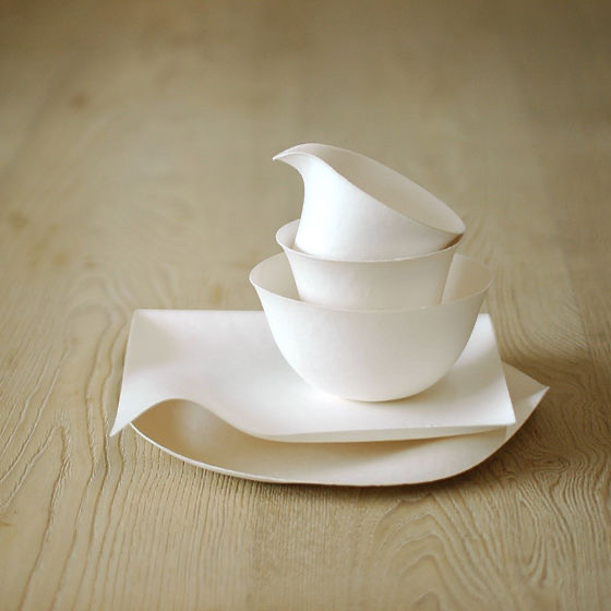 Wasara Elegant Disposable Food Containers, dinnerware arranged on a wooden table.