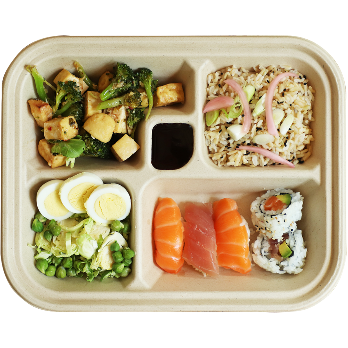 fiber five compartments compostable bento box containing sushi, rice, and vegetables.