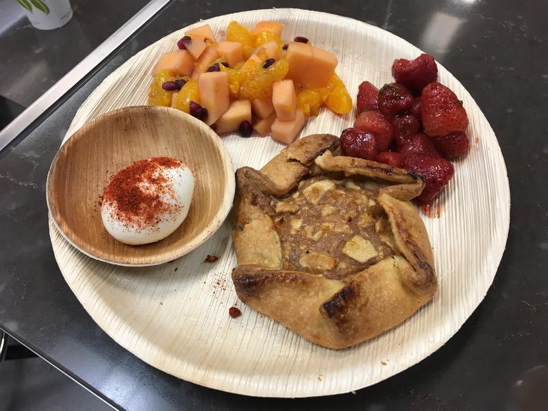 Round Palm Leaf Plate containing Dessert.