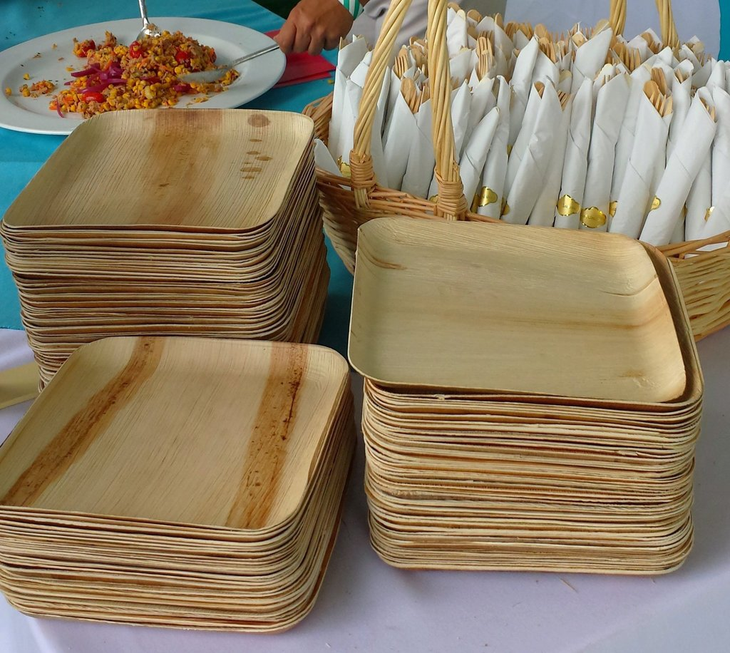 three Stack of square Palm Leaf Disposable Plates